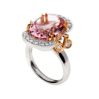 18k Two-tone Gold Oval-cut Pink Tourmaline and 5/8ct TDW Diamond Chandelier Ring (G-H, VS1-VS2)