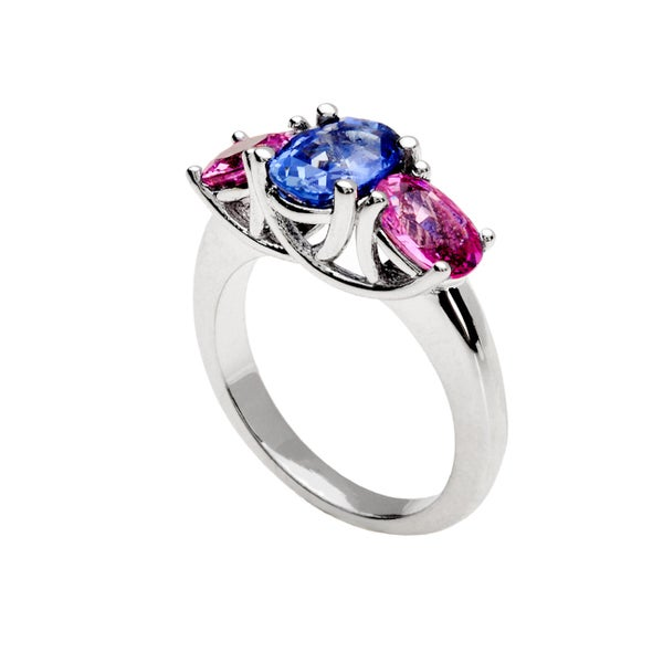18k White Gold Oval-cut Pink and Blue Sapphire 3-stone Ring