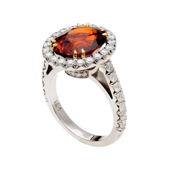 18k White Gold Oval-cut Mandarin Orange Garnet and 1 1/4ct TDW Diamond Halo Ring (G-H, VS1-VS2)