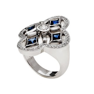 14k White Gold Oval-cut Blue Sapphire and 7/8ct TDW Diamond Flower Halo Ring (G-H, VS1-VS2)