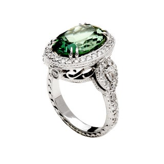 18k White Gold Oval-cut Mint Green Tourmaline and 1 1/4ct TDW Diamond Halo Ring (G-H, VS1-VS2)