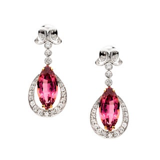 18k Two-tone Gold Pink Tourmaline and 3/4ct TDW Diamond Earrings (G-H, VS1-VS2)