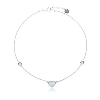 Blue Box Jewels Rhodium-plated Sterling Silver Cubic Zirconia Heart Anklet