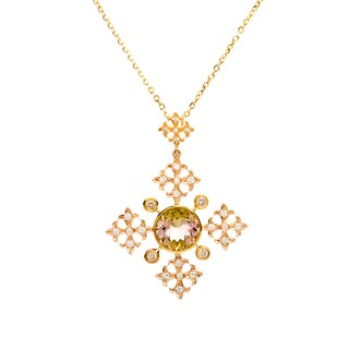 18k Yellow Gold Pink/Yellow Tourmaline and 1/3ct TDW Diamond Cross Necklace (G-H, VS1-VS2)