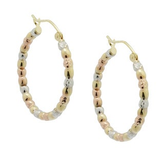 Gioelli 14k Tri-color Gold Shiny Twist Puff Hoop Earrings