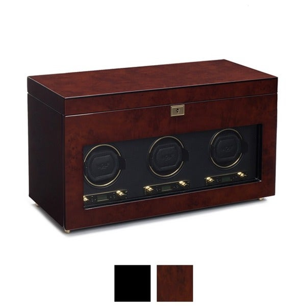 WOLF Savoy Triple Watch Winder with Storage