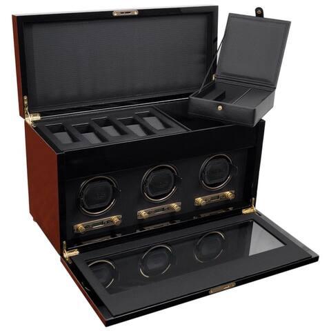WOLF Savoy Triple Watch Winder with Storage