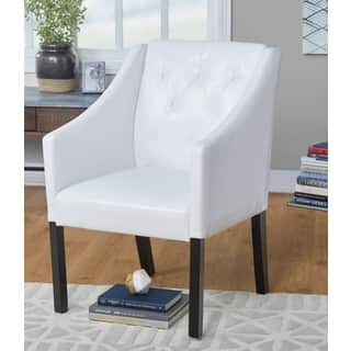 white living room chairs. Simple Living Tufted White Faux Leather Guest Chair Room Chairs For Less  Overstock com