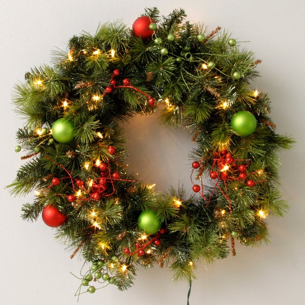 Pre lit decorated christmas wreath free shipping on