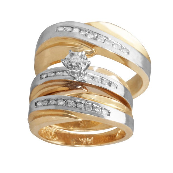 14k Two tone Gold 5 8ct Diamond Trio His and Her Matching Wedding Ring Set G