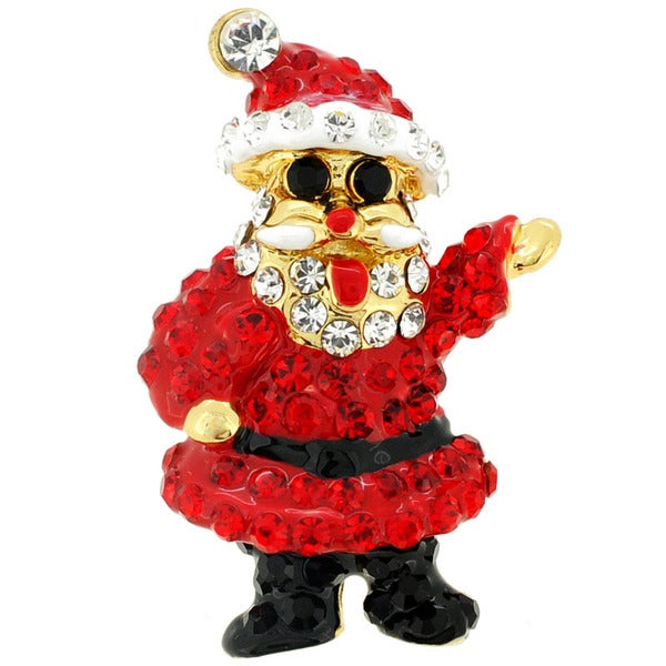 Goldtone Enamel and Gemstone Christmas Santa Claus Pin Brooch