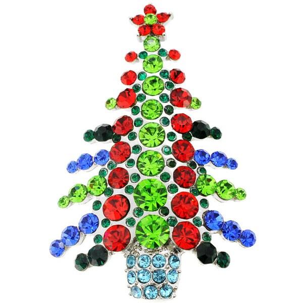 Silvertone multicolor gemstone christmas tree pin brooch