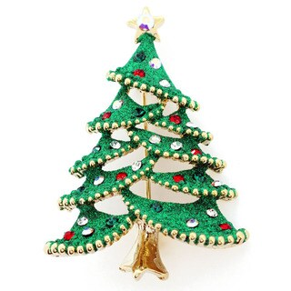 Goldtone Green Enamel and Gemstone Christmas Tree Pin Brooch