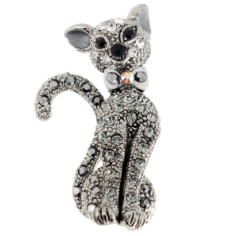 Silvertone Gemstone Black Cat Animal Pin Brooch (cat pin)...