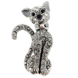 Silvertone Gemstone Black Cat Animal Pin Brooch