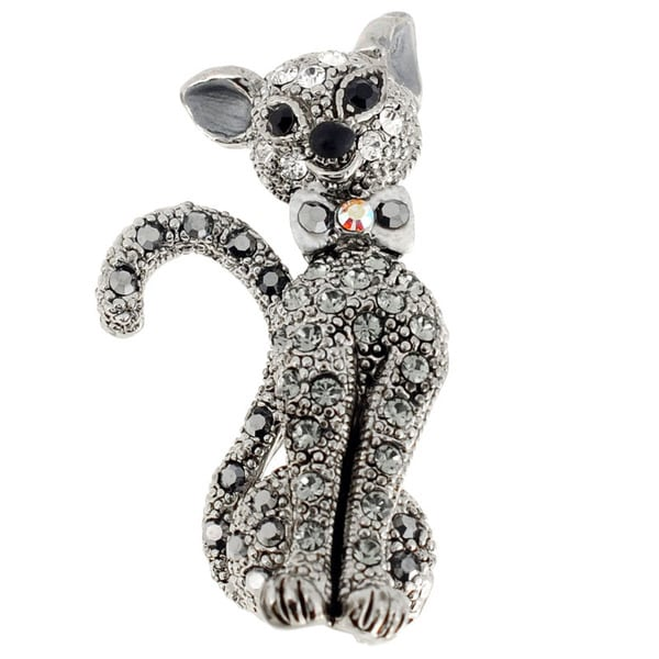Silvertone Gemstone Black Cat Animal Pin Brooch