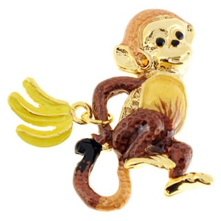 Goldtone Enamel and Gemstone Monkey with Bananas Pin