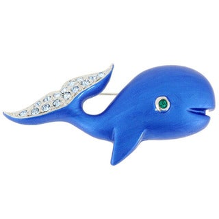 Silvertone Enamel and Gemstone Blue Whale Pin Brooch