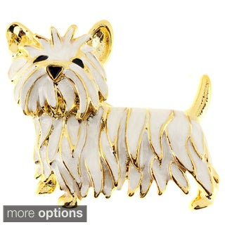 Goldtone White or Golden Enamel Scottie Dog Brooch