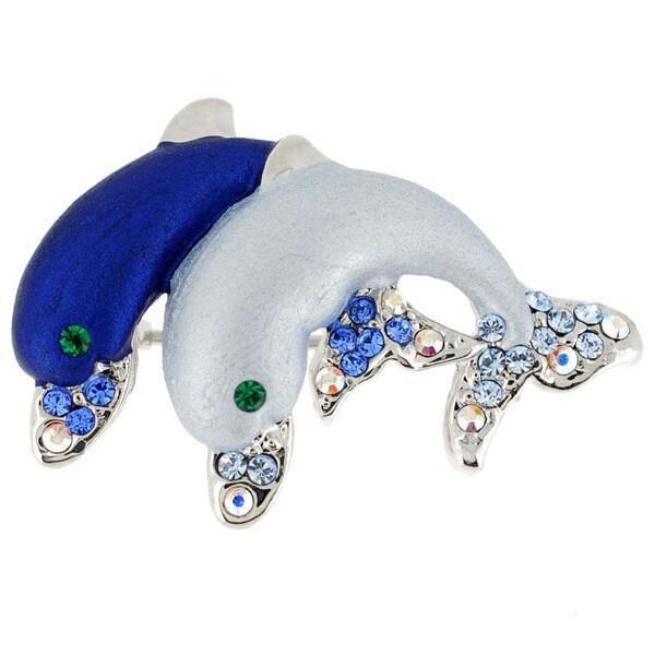 Silvertone Blue Enamel and Gemstone Couple Dolphin Pin