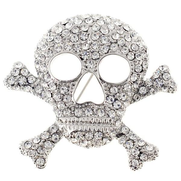 Silvertone Gemstone Cross Bones Skull Pin Brooch