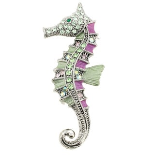 Silvertone Green/ Violet Enamel and Gemstone Seahorse Pin