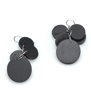 Handmade Eco-friendly Wooden Disk Earrings (India)
