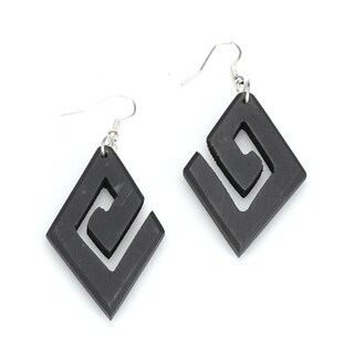 Handmade Eco-friendly Wooden Geometric Dangle Earrings (India)