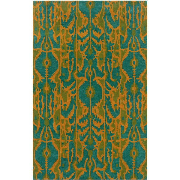 LR Home Vibrance Blue Floral Wool Rug (5' x 7'9) - 5' x 7'9