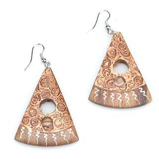 Handmade Triangular Eco Friendly Wood Earrings (India)