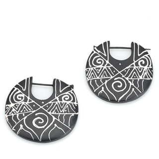 Handmade Eco-friendly Round Wood Earrings (India)