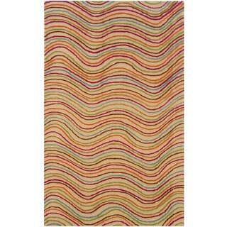 Contemporary Multicolored Stripe Wool Rug (5' x 7'9)
