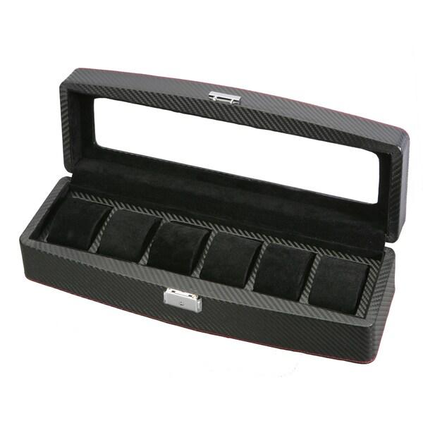 Carbon Fiber Pattern Leather 6 Watch Display/ Storage Case