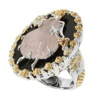 Michael Valitutti Two-tone Rose Quartz, Black Onyx and Pink Sapphire Ring