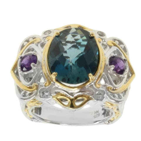 Michael Valitutti Two-tone London Blue Oval Topaz, Amethyst, and White Sapphire Ring
