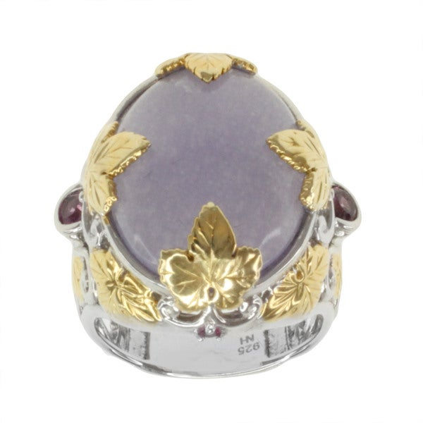 Michael Valitutti Two-tone Purple Jade, Rhodolite and Pink Sapphire Ring