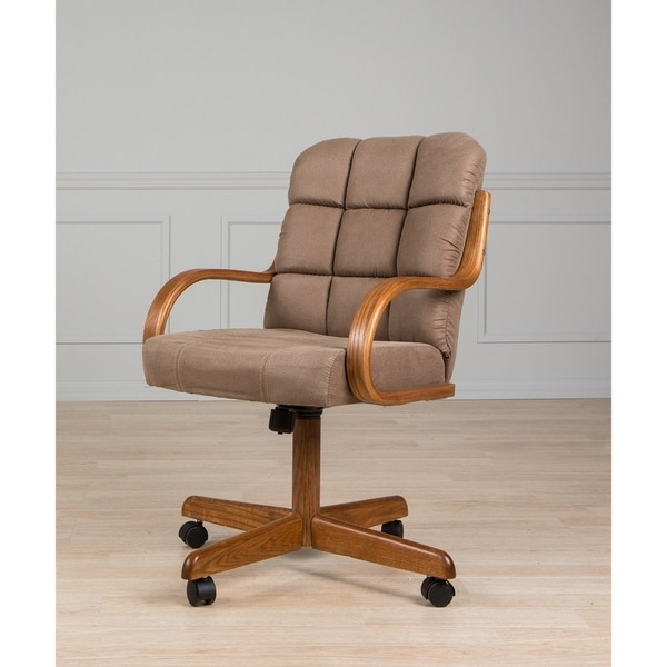 Upholstered Casual Brown Metal Microfiber Oak Rolling Dining Chair