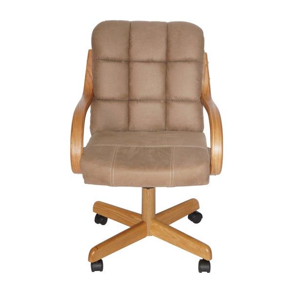 Rolling Dinette Chairs: Brown-upholstered Casual Rolling Dining Chair