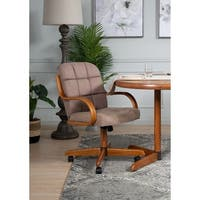 Upholstered Casual Brown Metal Microfiber Oak Rolling Dining Chair