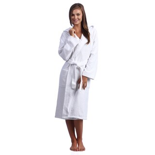 Classic Turkish Towel Hooded Kimono Cotton Terry Cloth Bathrobe