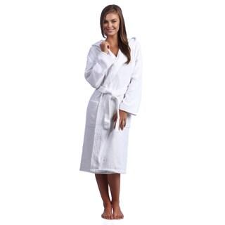 White Hooded Kimono Style Turkish Cotton Terry Bath Robe
