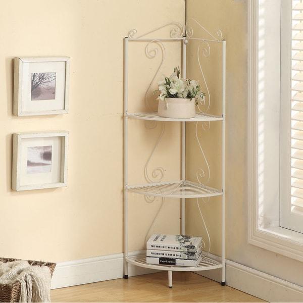 White Metal 48-inchHigh Corner Display Etagere