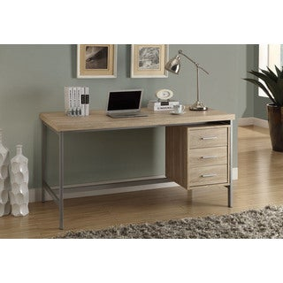 Silver Metal and Natural Reclaimed-look 60-inch Long Office Desk