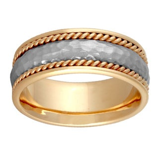 14k Two-tone Gold Handmade Comfort-fit Hammered Wedding Band