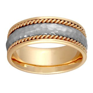 14k Two Tone Gold Handmade Comfort Fit Hammered Wedding Band