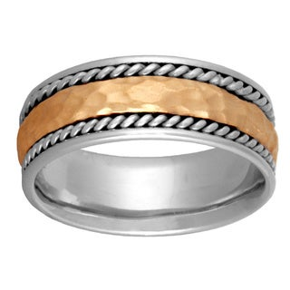 14k Two-tone Gold Handmade Comfort-fit Hammered and Woven Wedding Band