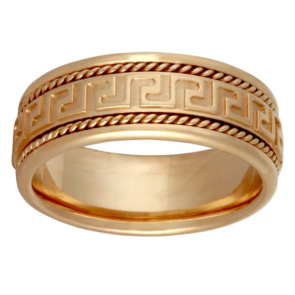 14k Yellow Gold Handmade Greek Key Comfort Fit Wedding Band