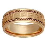14k Yellow Gold Handmade Greek Key Comfort-fit Wedding Band