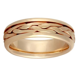 14k Yellow Gold Handmade Braided Comfort-fit Wedding Band