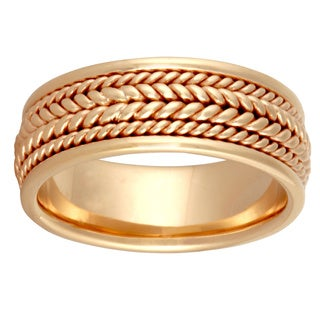 14k Yellow Gold Handmade Rope Design Comfort-fit Wedding Band